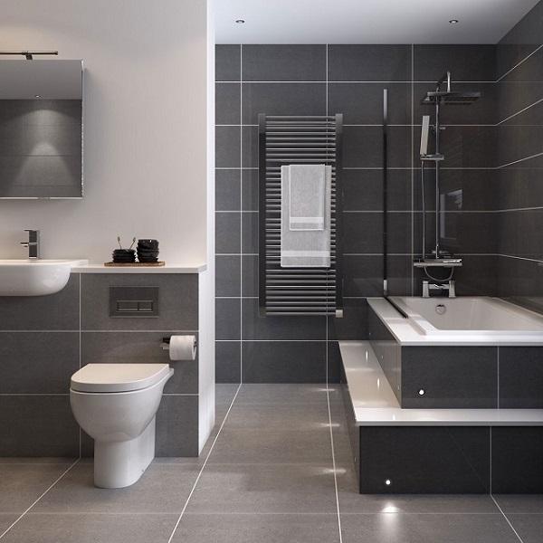 Gạch ốp tường màu đen cho nhà tắm, phòng vệ sinh