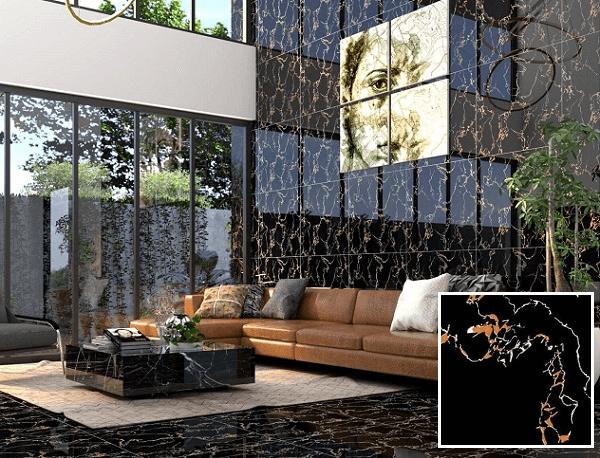 Gạch ốp tường màu đen cho phòng khách 1