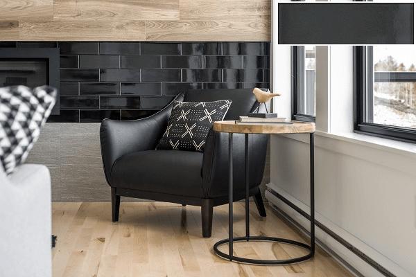 Gạch ốp tường màu đen cho phòng khách 2