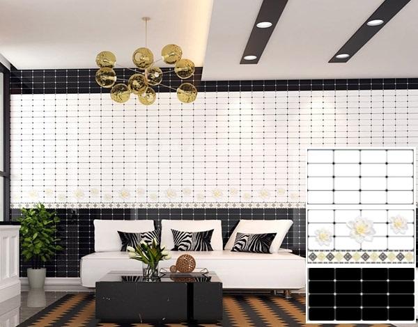 Gạch ốp tường màu đen cho phòng khách 3